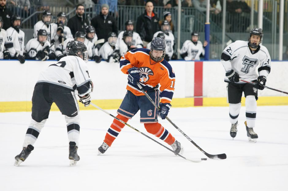 Matt Pettit recorded his second hat trick in three games to power the Lyman Hall Co-op to a 6-4 victory over Westhill-Stamford on Saturday at Northford Ice Pavilion. | Justin Weekes / Special to the Record-Journal