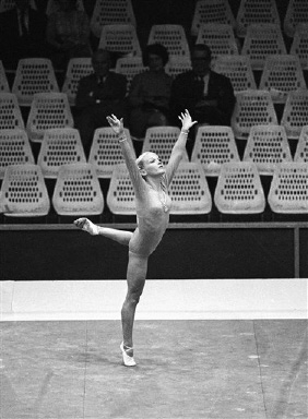 Cathy Rigby, 15, of Los Alamitos, Calif., the youngest member of the USA gymnastics team, performs in the floor exercise of the 1968 Olympics at Mexico City, Oct. 22, 1968. (AP Photo)