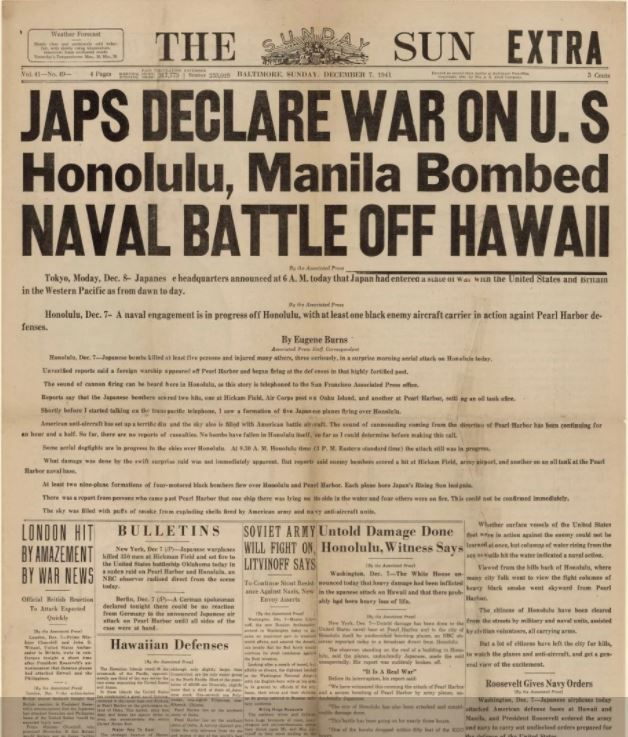 The front page of The Sunday Sun, now named The Westerly Sun and owned by the Record-Journal, on Dec. 7, 1941. The Sunday Sun was the first newspaper to print news of the Japanese attacks   in its regular edition.
