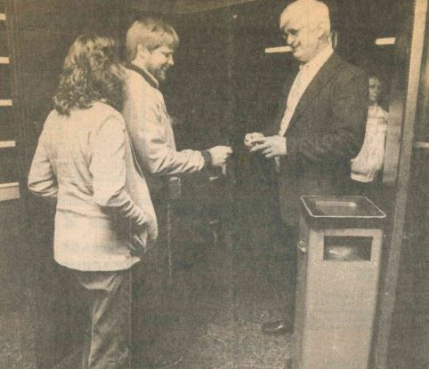 Charles Tolis takes tickets for the Meriden Twin's final showing, April 1988. | Record-Journal file photo