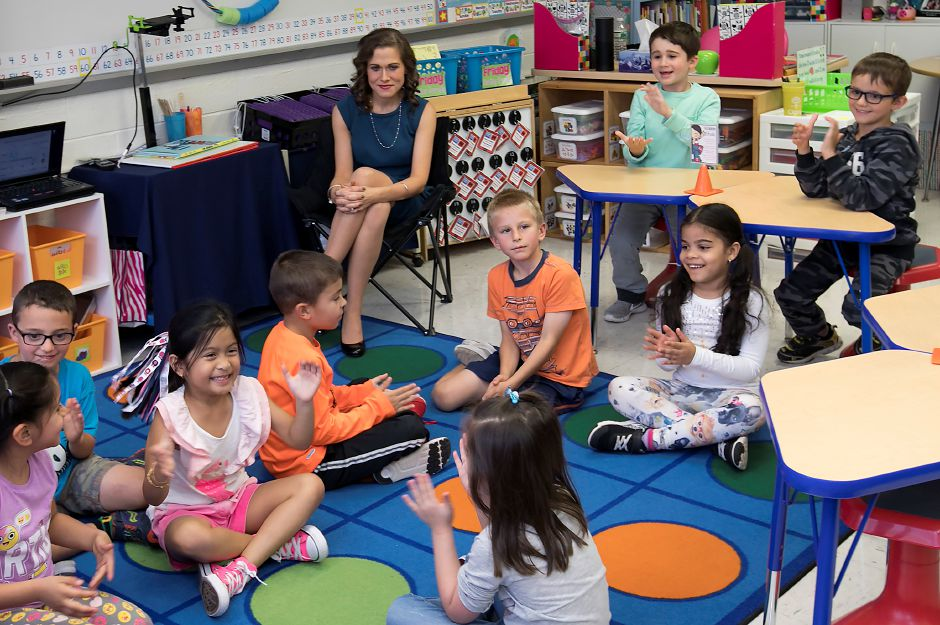 First-grade students learn their teacher Erin Berthold, top left, has been named 2018 Connecticut State Teacher of the Year at Cook Hill Elementary School in Wallingford, Tuesday, October 3, 2017.   | Dave Zajac, Record-Journal DAVE ZAJAC