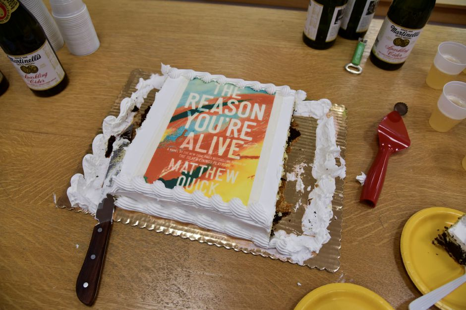 A cake decorated with the book cover. Bailey Wright, Record-Journal