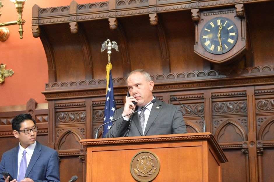 House Speaker Joe Aresimowicz, D-Berlin, presides over debate Thursday at the Capitol on a bipartisan budget agreement.