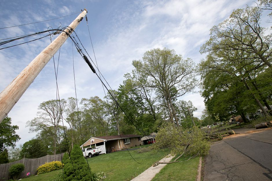 Downed wires on Balsam Road in Wallingford, Thursday, May 17, 2018. The area was hit hard by Tuesday