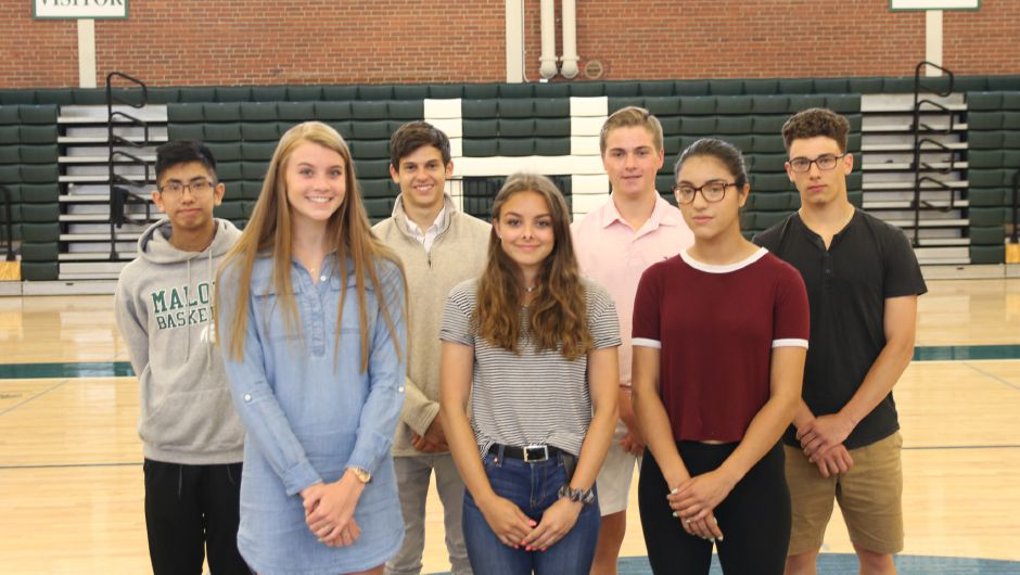 Here are the Record-Journal Scholar-Athletes at Maloney High School for the 2019 spring season. The girls in front, left to right, are Madison Clancy, Skyler Drost and Charlise Levesque. The boys in back, from left, are Chuong Vu. Dominic Oliveri, Matt Bahre and Jacob Esposito.