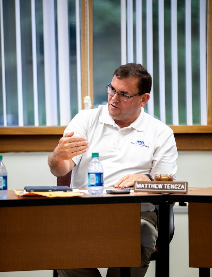 Berlin Board of Education President Matthew Tencza speaks the June 18 board meeting. Options to fund the Effective School Solutions program were discussed in the face of spending cuts in next year