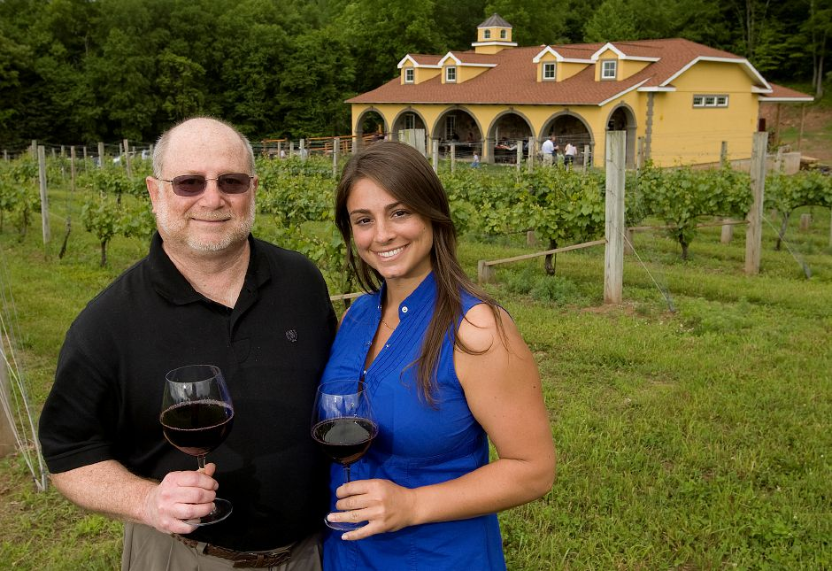 Albert Ruggiero Jr, president, and niece Margaret Ruggiero, co-owner of Paradise Hills Vineyard located on 65 acres at 15 Wind Swept Hill Rd. in Wallingford June 5, 2011. The family owned and operated vineyard opened May 1, 2011. (Dave Zajac/Record-Journal)