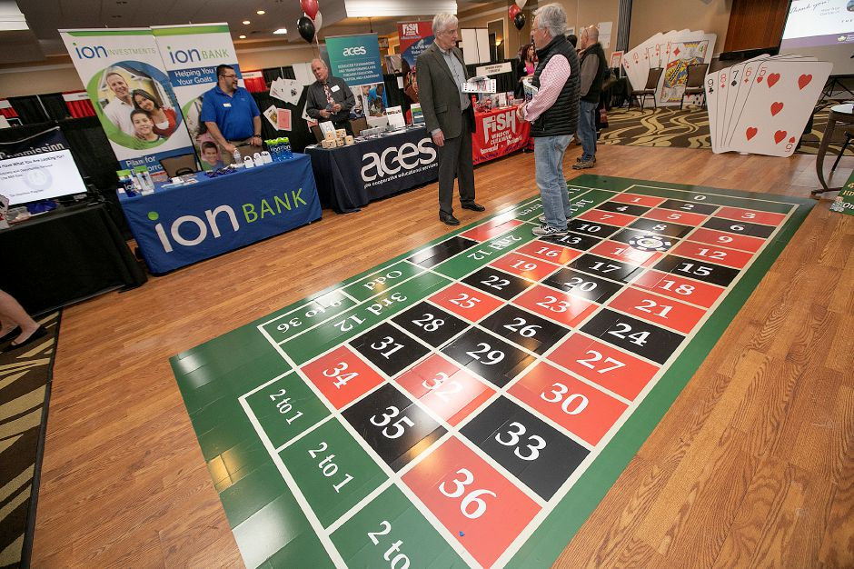 A roulette table floor featured during the casino-themed Quinnipiac Chamber of Commerce Annual Business Showcase at the Best Western in North Haven, Thurs., Apr. 4, 2019. Dave Zajac, Record-Journal