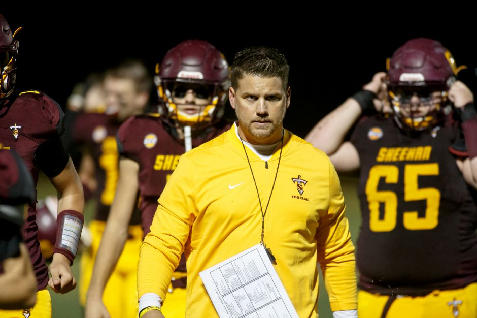 Sheehan head coach John Ferrazzi never let his team forget last year's Class M quarterfinal loss to Joel Barlow. Not that the Titans needed much prompting. Driven by that home loss, the Titans tore through the 2018 regular season at 9-1 and then, with Tuesday night's 43-20 win over Wolcott, notched the program's first postseason triumph since the Class SS state championship season of 1985.
