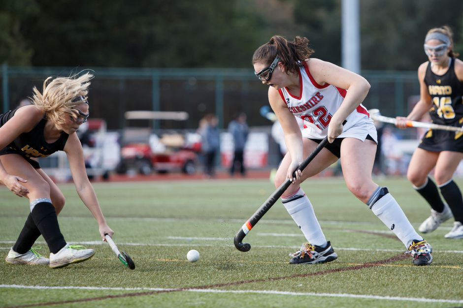 Meaghan Hogan scored the first goal of the night for the Cheshire field hockey team Monday at Branford. With a 2-0 victory, Hogan and the Rams completed a 16-0 regular season. | Justin Weekes / Special to the Record-Journal