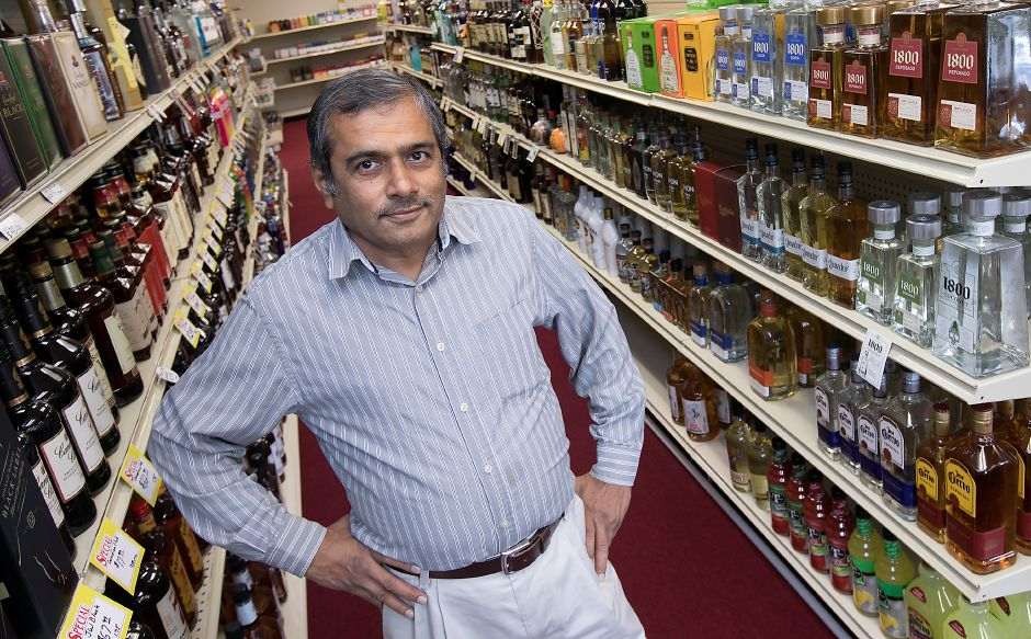 B.M. Patel, co-owner of West Side Wine and Spirits on Hope Hill Road in Wallingford, Wednesday, Sept. 13, 2017. The store recently opened at the corner of Hope Hill Road and Highland Avenue after about a year of renovations. Patel will also be opening Suburban Market grocery store next door in early 2018. | Dave Zajac, Record-Journal