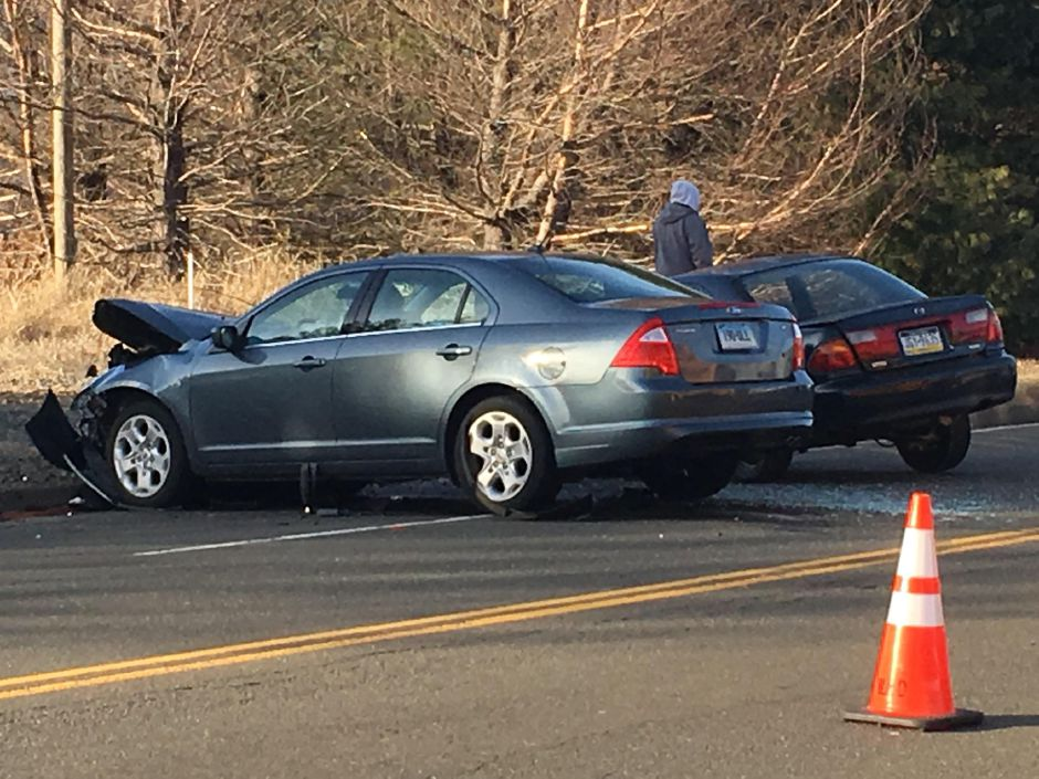 Emergency crews responded to a crash on Route 5 in Wallingford Tuesday afternoon. | Lauren Takores, Record-Journal