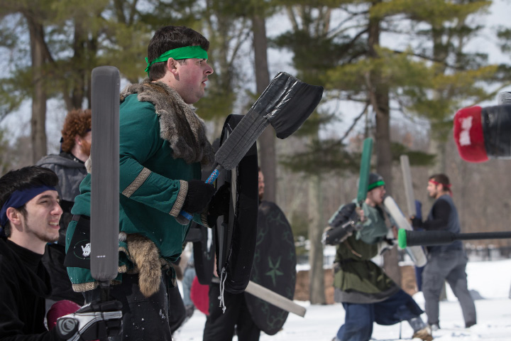 Alex Miklve of New Bedford Ma stands his ground Saturday during a Dagorhir Medieval battle at Hubbard Park in Meriden. Chapters from New England participated in live battle.  Mar. 18, 2017 | Justin Weekes / For the Record-Journal