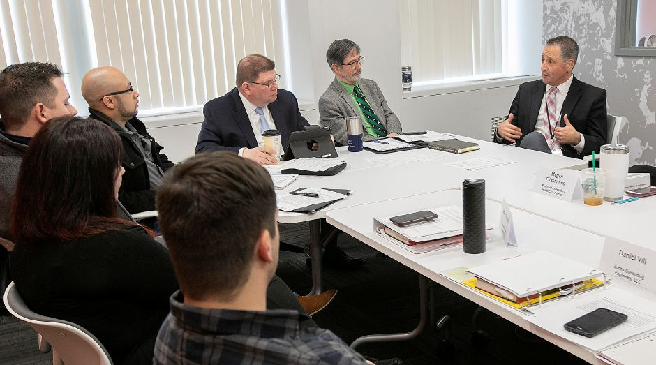 Dr. Salvatore Menzo, superintendent Wallingford public schools, speaks during a Leadership Academy of Meriden and Wallingford meeting at the Record-Journal, Fri., Mar. 15, 2019. Dave Zajac, Record-Journal