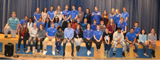 Plainville Community School's +K.I.K (Positive Kids Influencing Kids) Peer Mentor Group recently had a special visit from magician and motivational speaker Brian Miller (front row, center). This event was made possible thanks to a grant from the Elizabeth Norton Trust Fund.