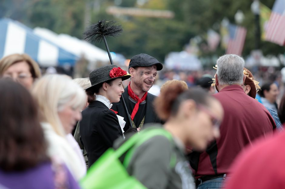 "Jay Michaels and Nichole Zolad — dressed as characters from ""Mary Poppins"" — take part Saturday in  the 32nd Annual Celebrate Wallingford. Justin Weekes / Special to the Record-Journal"