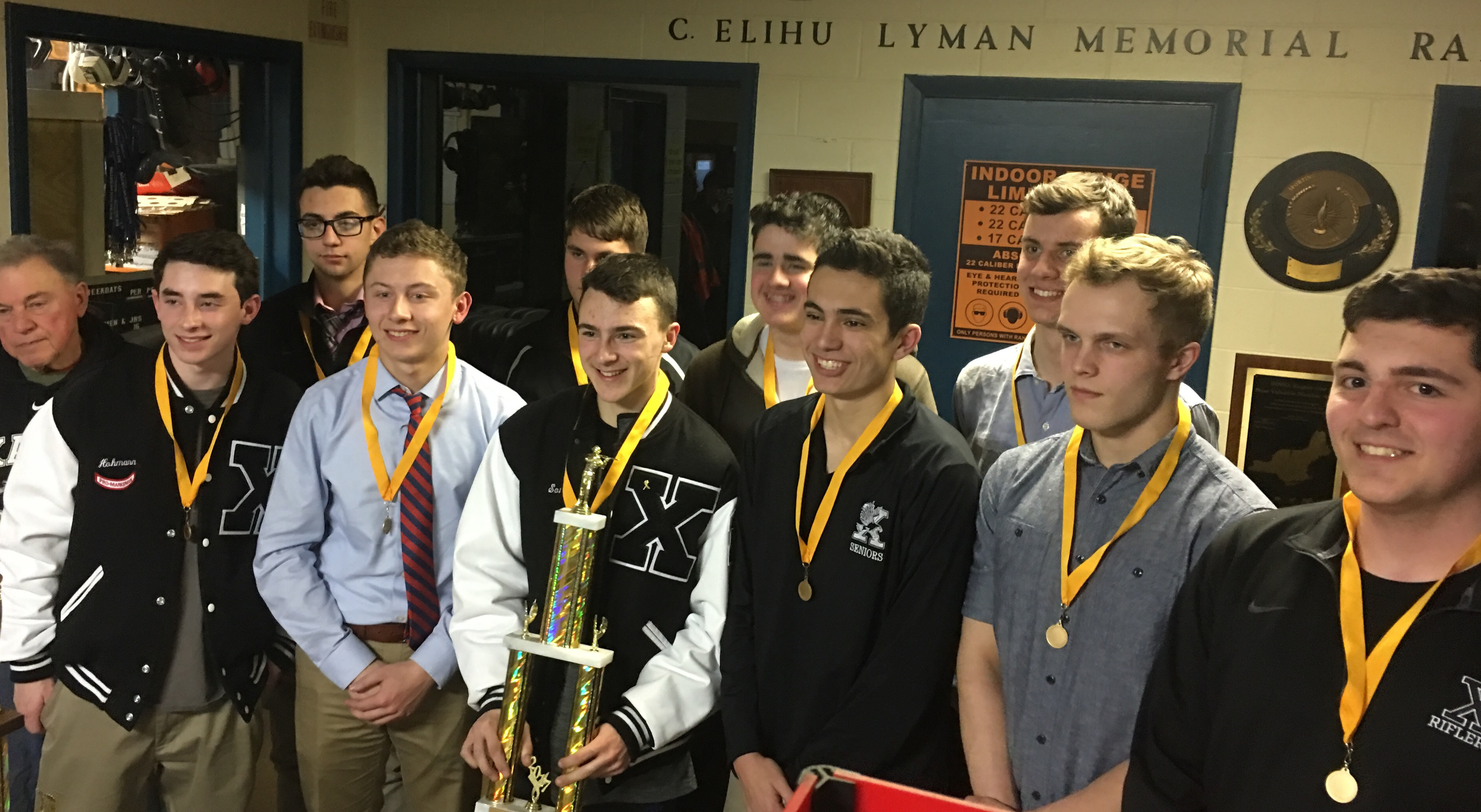 The Xavier High School varsity rifle team was crowned Central Connecticut Conference champions at Blue Trail Range following the state rifle championship. The team placed second, by just two points, at the state championship.