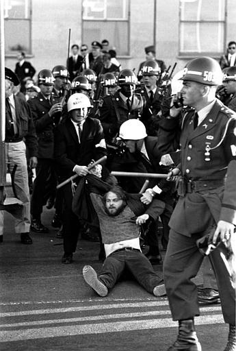 U.S. Marshals drag away one of the antiwar demonstrators after an attempt to break through the security lines at the Pentagon in Washington D.C. on Oct. 21, 1967. (AP Photo)