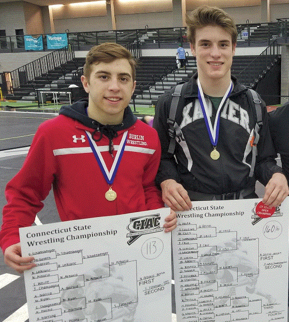 Berlin residents Ryan DeVivo and Nick Arborio after besting their competition at the State Open in New Haven.