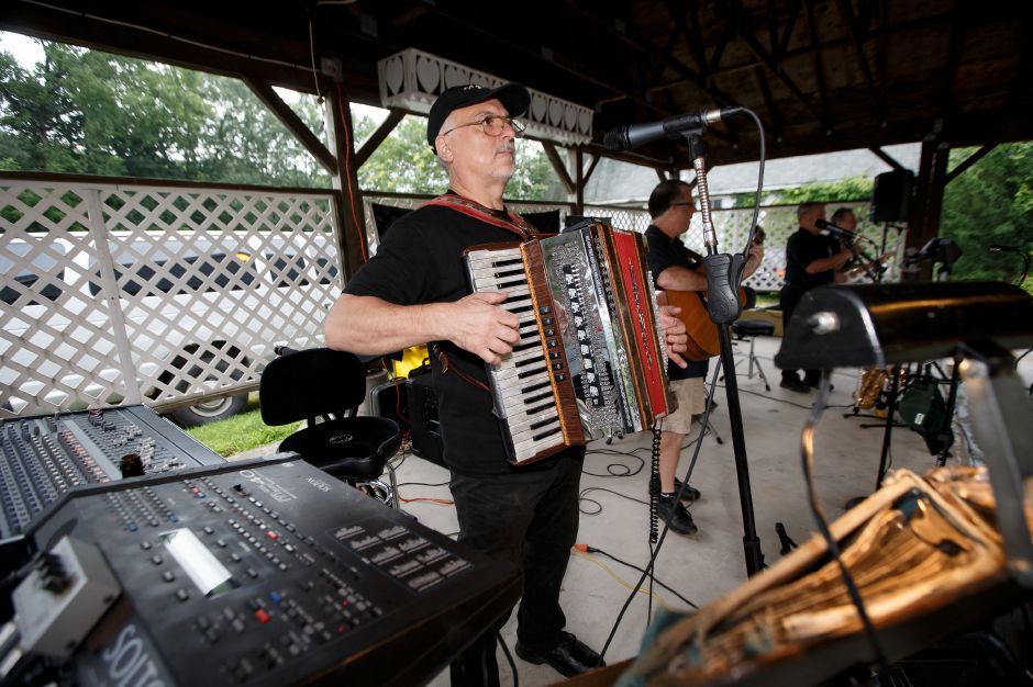 Members of the Adler Band perform Saturday during Bierfest at the Meriden Turner Society in Meriden. The 152 year old Society celebrates German cultural, food, music and dancing.  August 11, 2018 | Justin Weekes / Special to the Record-Journal