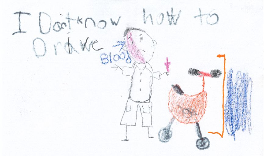Sketches drawn by three Berlin children and provided to police, depict the operator of a motorcycle who fled after crashing into a guardrail on the Berlin Turnpike on August 13, 2019. | Image courtesy of the Berlin Police Department