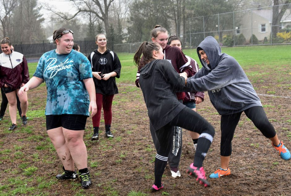 North Haven High School students practice rugby in the rain at the athletic complex on Monday. Their next game is May 2 at 4:30 p.m. at the athletic complex. Photos by Bailey Wright, North Haven Citizen