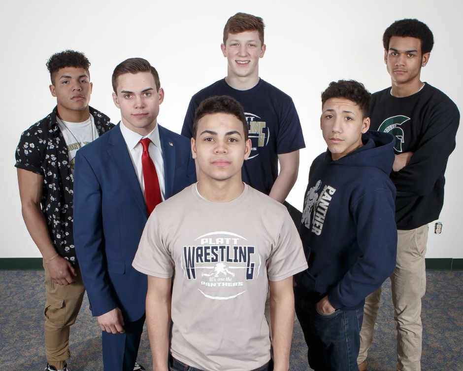 Introducing this year's All-Record-Journal wrestling selections from Meriden. In front is Platt