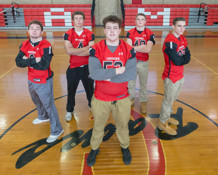 Cheshire's selections to the All-Record-Journal Football Team are, from left, linebacker Brian Weyrauch, defensive back Michael Jeffery, offensive lineman Patrick Bourdeau, kicker Ethan Bronson and wide receiver Michael Millea. | Justin Weekes, Special to the Record-Journal