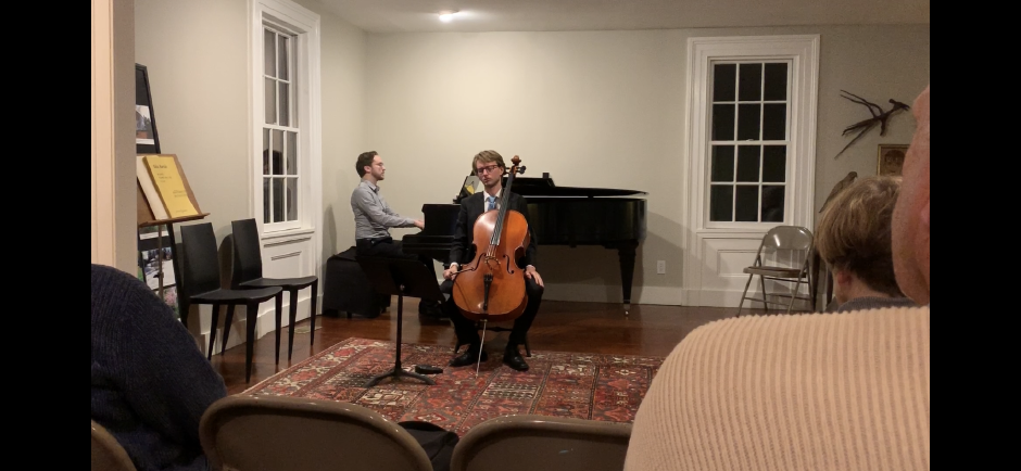 Pianist Timothy Krippner and cellist Max Geissler, resident musicians at Kalmia Gardens, prepare to play a piece by Claude Debussy.Photo by Everett Bishop, Town Times