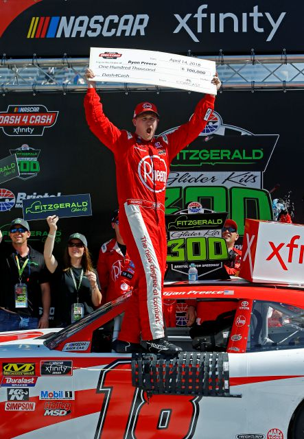 Driver Ryan Preece celebrates after winning a NASCAR Xfinity Series auto race on Saturday, April 14, 2018, in Bristol, Tenn. (AP Photo/Wade Payne)