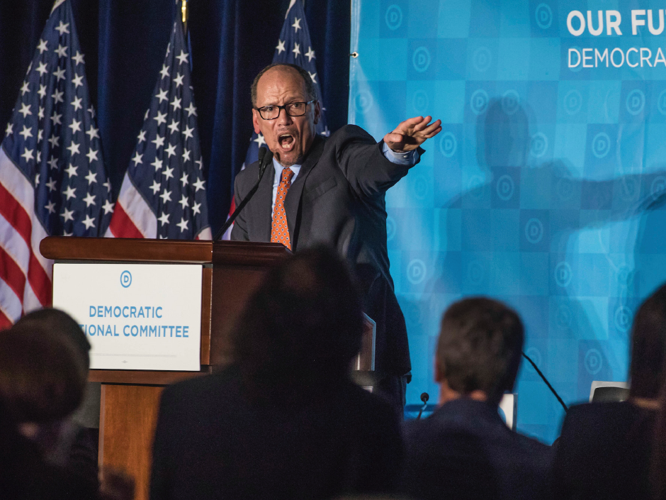 FILE PHOTO: Newly elected Democratic National Committee Chairman Tom Perez gives a victory speech during the general session of the DNC winter meeting in Atlanta, Saturday, Feb. 25, 2017. Associated Press/Branden Camp