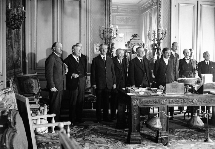 L-R: Andre Francois Poncet; Walter Edge, American Ambassador to France; Henry Lewis Stimson, American Secretary of State; Aristide Briand; Arthur Henderson, British Foreign Secretary; Pierre Laval, French Prime Minister; M. Pietre, Budget Minister; Pierre Etienne Flandin; and Lord William Tyrrell British Ambassador to France at a conference about the situation in Germany held the French Ministry in London, England on July 16, 1931. (AP Photo)