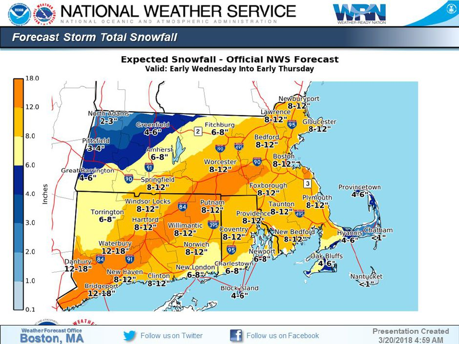 Between 6 and 16 inches of snow forecast for Wednesday