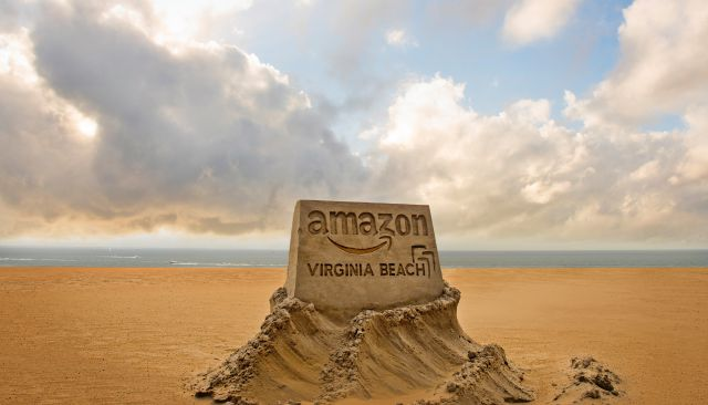 This image provided by the City of Virginia Beach, Va., shows a sand sculpture the city is using to promote its application to become Amazon
