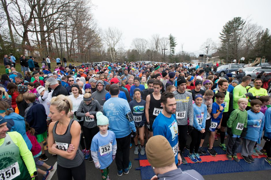 Runners gets set for the start Saturday during the Hot Coco 5K to benefit Abilities Without Boundaries at the Norton Elementary School in Cheshire November 18, 2017 | Justin Weekes / For the Record-Journal