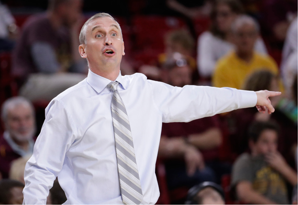 FILE - In this Jan. 29, 2017, file photo, Arizona State coach Bobby Hurley gestures during the team