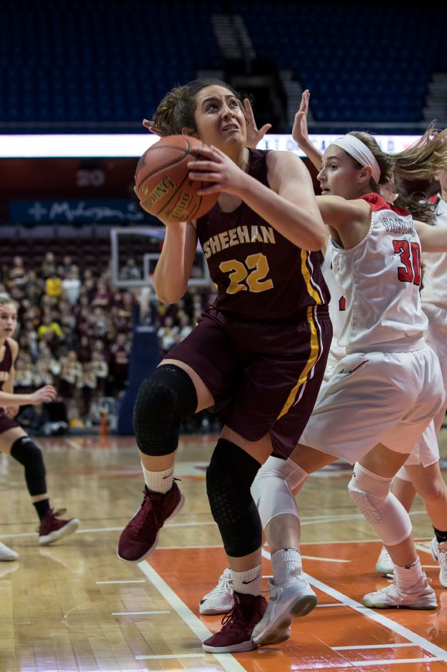 Sheehan senior Olivia Robles had 17 points and 7 rebounds against Cromwell in the CIAC Class M championship game Sunday at Mohegan Sun Arena. Robles finished her career as Sheehan's all-time leading girls scorer with 1,297 points.