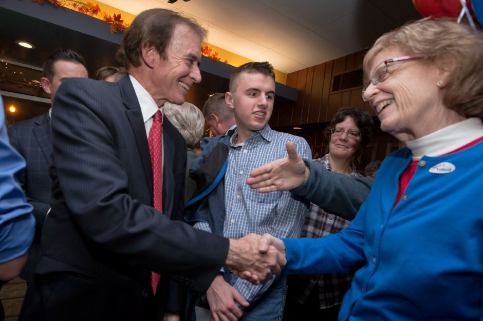 Mayor William Dickinson gets congratulations after winning an 18th term in Republican Headquarters at Gaetano