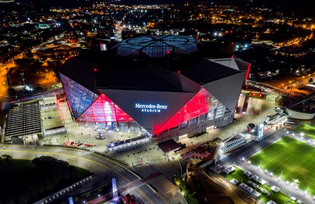 In this Friday, Sep. 21, 2018, photo, Mercedes-Benz Stadium is seen in this aerial photo in Atlanta. The stadium will be the site of Super Bowl LIII on Sunday, Feb. 3, 2019. Atlanta leaders, police and federal officials plan to discuss public safety plans ahead of Super Bowl 53. (AP Photo/Danny Karnik)