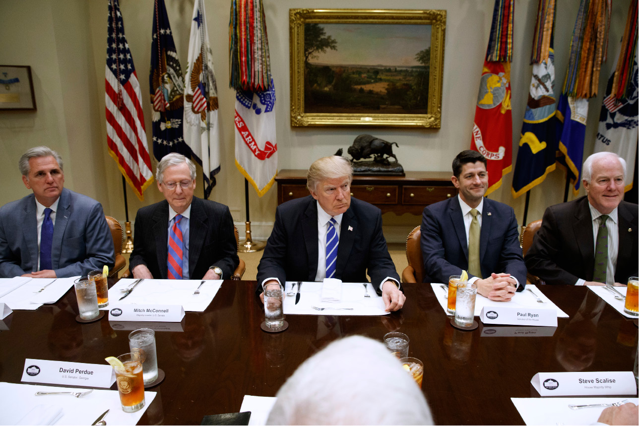 President Donald Trump hosts a meeting with House and Senate leadership, Wednesday, in the Roosevelt Room of the White House in Washington. From left are, House Majority Leader Kevin McCarthy of Calif., Senate Majority Leader Mitch McConnell of Ky., Trump, House Speaker Paul Ryan of Wis., and Senate Majority Whip John Cornyn of Texas.| Associated Press
