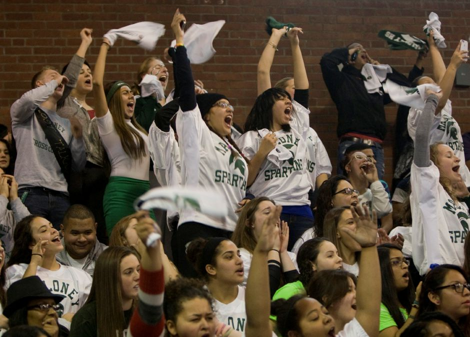 Maloney seniors make their presence known during the annual pep rally at Maloney High School, Wednesday, November 27, 2013. | Dave Zajac / Record-Journal