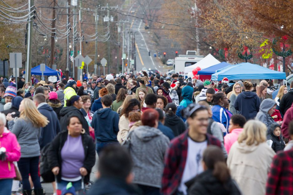 Crowds filled the street Saturday during Christmas in the Village on Main Street in South Meriden December 2, 2017 | Justin Weekes / For the Record-Journal