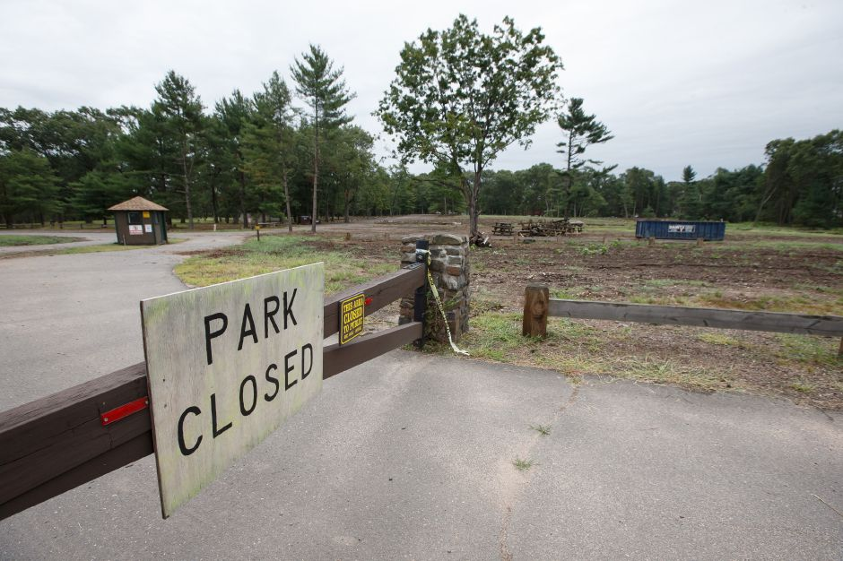 Wharton Brook State Park in Wallingford, seen here on Friday, remains closed after last May's microburst.  Justin Weekes, special to the Record-Journal