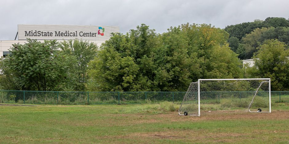 One of two soccer fields next to MidState Medical Center in Meriden, Tuesday, Sept. 18, 2018. MidState Medical Center is in talks with the city to relocate the soccer fields to make room for the hospital