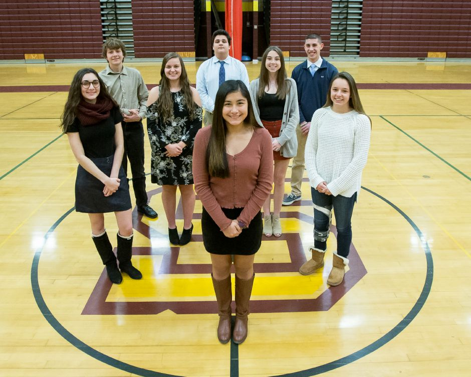 Sheehan's Record-Journal Scholar Fall Athletes are Marissa Galicia, front middle. From left to right,  Sydney Carim, Hannah Dale, Meghan Murphy and Rayna Esch. Back row:  Derrick Arnold, Joe Lowell and Mark Amadio.