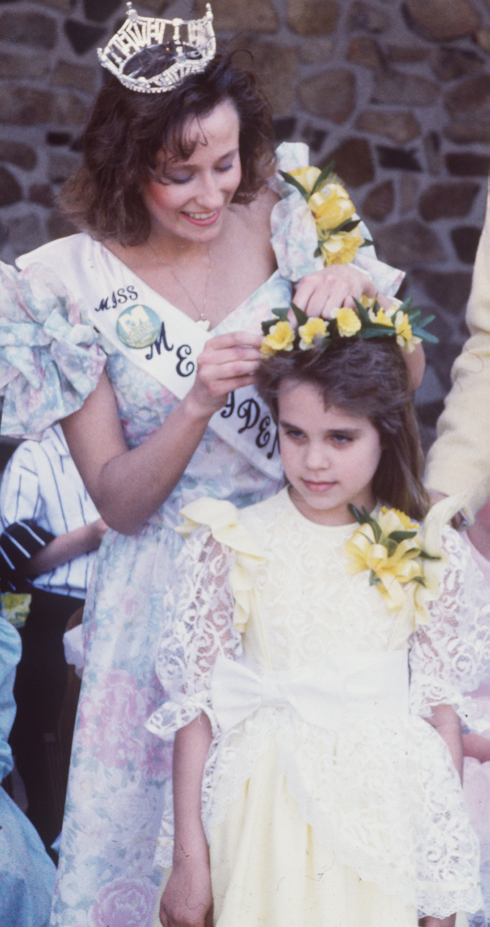 Little Miss Daffodil 1990-Clarissa Grabiec, being crowned by Miss Meriden on April 22, 1990.