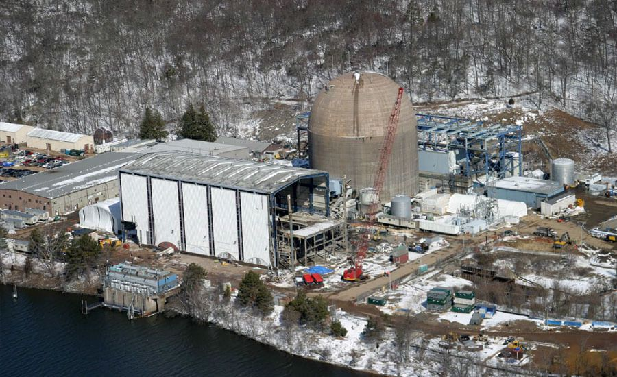 The Connecticut Yankee Nuclear Power Plant during its decommissioning by Manafort Brothers Incorporated. The Plainville demolition and construction company is celebrating its 100th anniversary. | Image courtesy of Manafort Brothers Incorporated