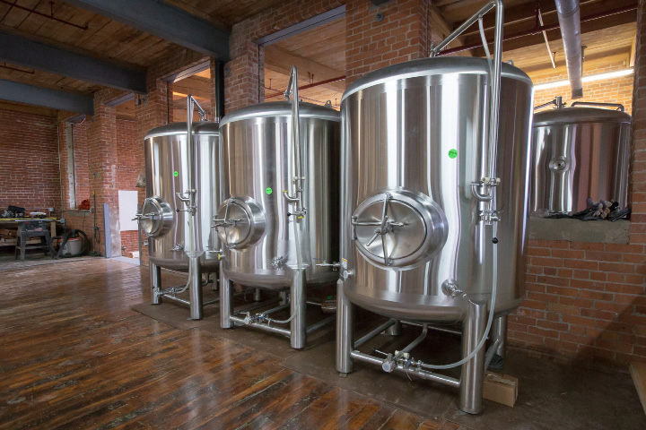 Tanks to be used as cold storage at Witchdoctor Brewing Company in Southington. The company expects to be brewing beer by the end of January. | Justin Weekes / For the Record-Journal