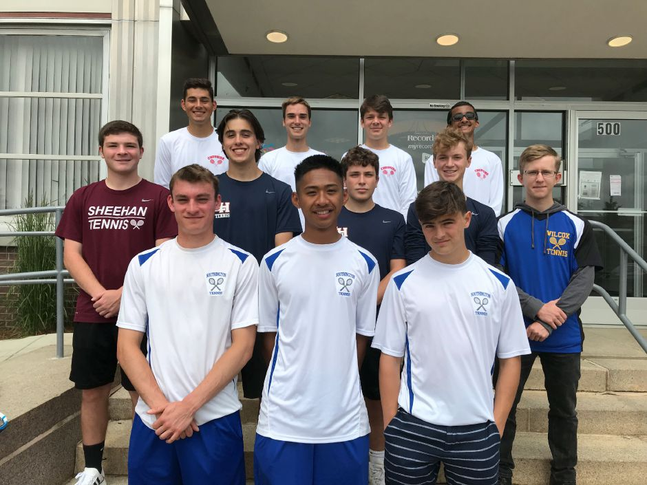 Introducing the 2019 All-Record-Journal Boys Tennis Team. In front, from left to right, are Southington teammates Marek Kryzanski, Matt Balaoing and Andrew Kudla. In the middle row, from left to right, are Sheehan's Andrew Saball, Lyman Hall teammates Jacob Cervero, Jake Lynn and Corey Flynn, and Wilcox Tech's Eli Henry. The Cheshire boys in back, from left, are Nate Pisani, Ben Fritz, Yasha Laskin and Utsav Subramani. Record-Journal staff