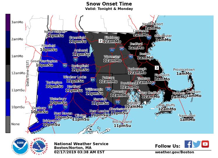 A wintery mix is forecast to move through the Meriden area Sunday night into Monday morning. | Image courtesy of the National Weather Service